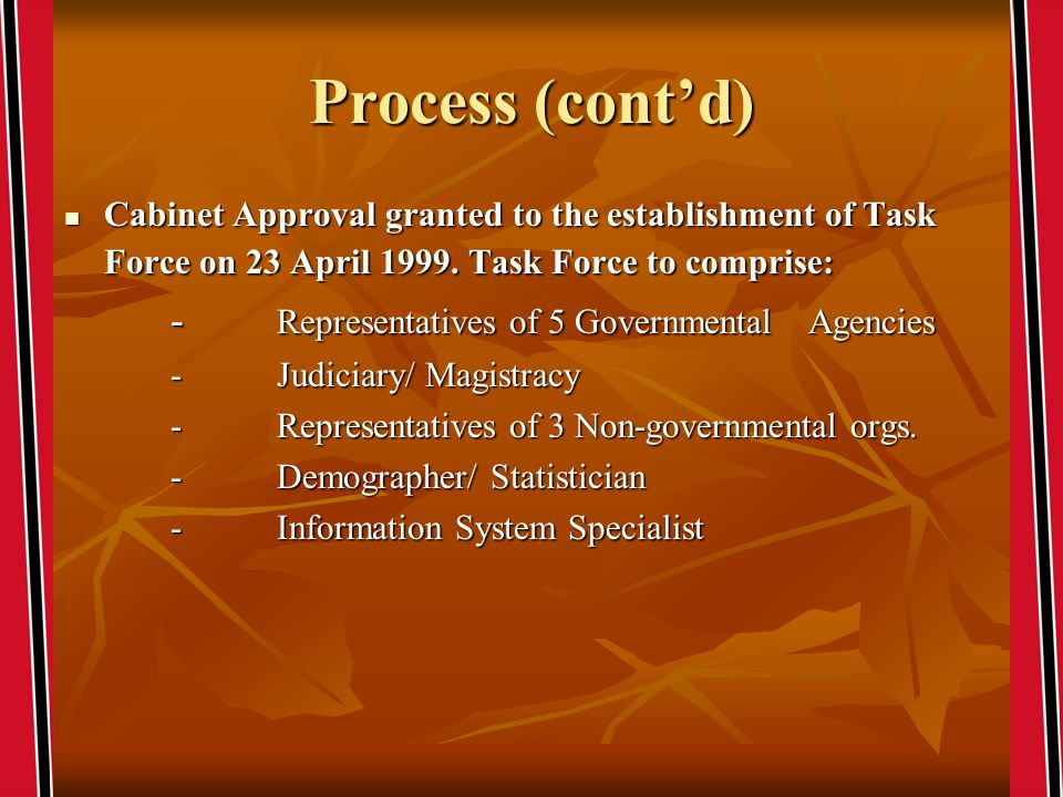 Process (contd) Cabinet Approval granted to the establishment of Task Force on 23 April 1999.