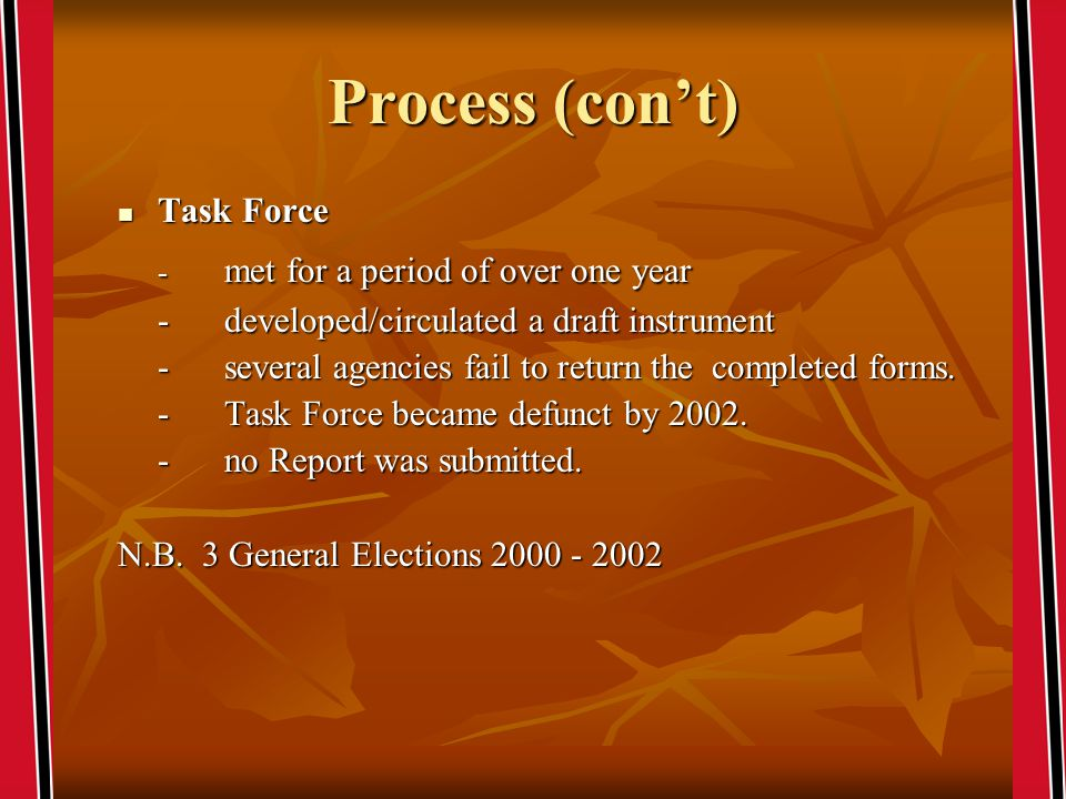 Process (cont) Task Force Task Force - met for a period of over one year - developed/circulated a draft instrument - several agencies fail to return the completed forms.