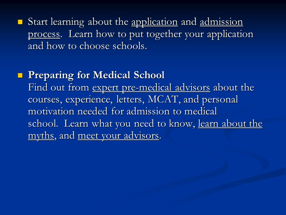 Start learning about the application and admission process.