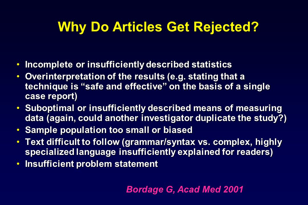 Why Do Articles Get Rejected.