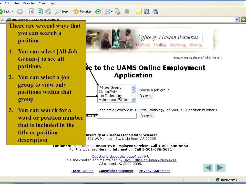 For this tutorial, we will search on the All Job Groups. Click on All Job Group Then click Search