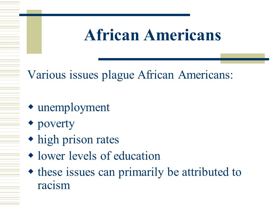 African Americans Various issues plague African Americans: unemployment poverty high prison rates lower levels of education these issues can primarily