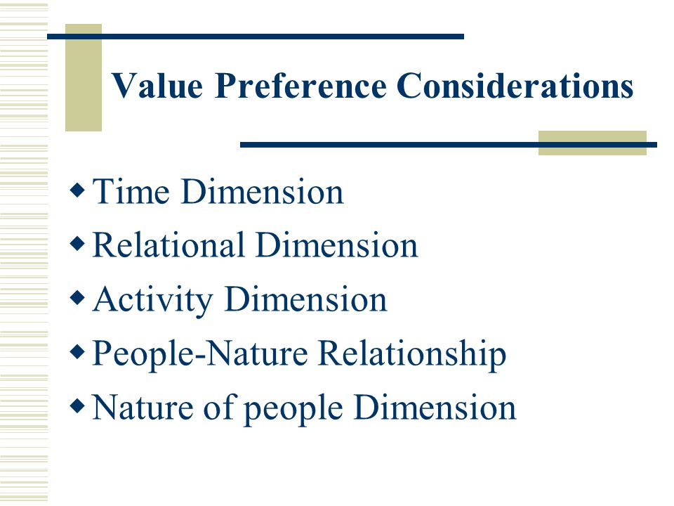 Value Preference Considerations Time Dimension Relational Dimension Activity Dimension People-Nature Relationship Nature of people Dimension
