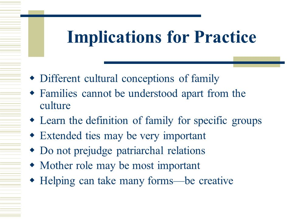 Implications for Practice Different cultural conceptions of family Families cannot be understood apart from the culture Learn the definition of family