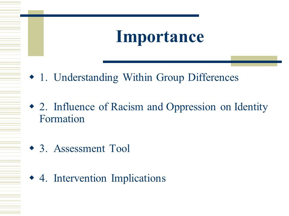 Importance 1. Understanding Within Group Differences 2. Influence of Racism and Oppression on Identity Formation 3. Assessment Tool 4. Intervention Im