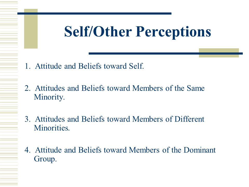 Self/Other Perceptions 1. Attitude and Beliefs toward Self. 2. Attitudes and Beliefs toward Members of the Same Minority. 3. Attitudes and Beliefs tow