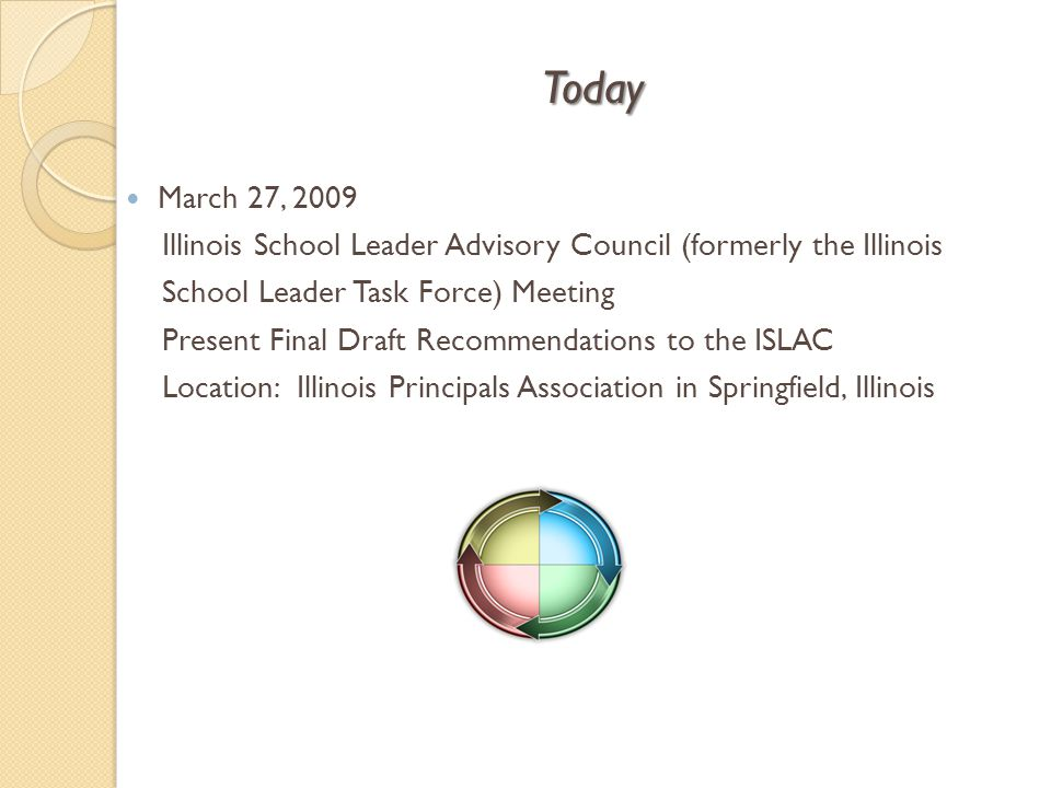 Today March 27, 2009 Illinois School Leader Advisory Council (formerly the Illinois School Leader Task Force) Meeting Present Final Draft Recommendati