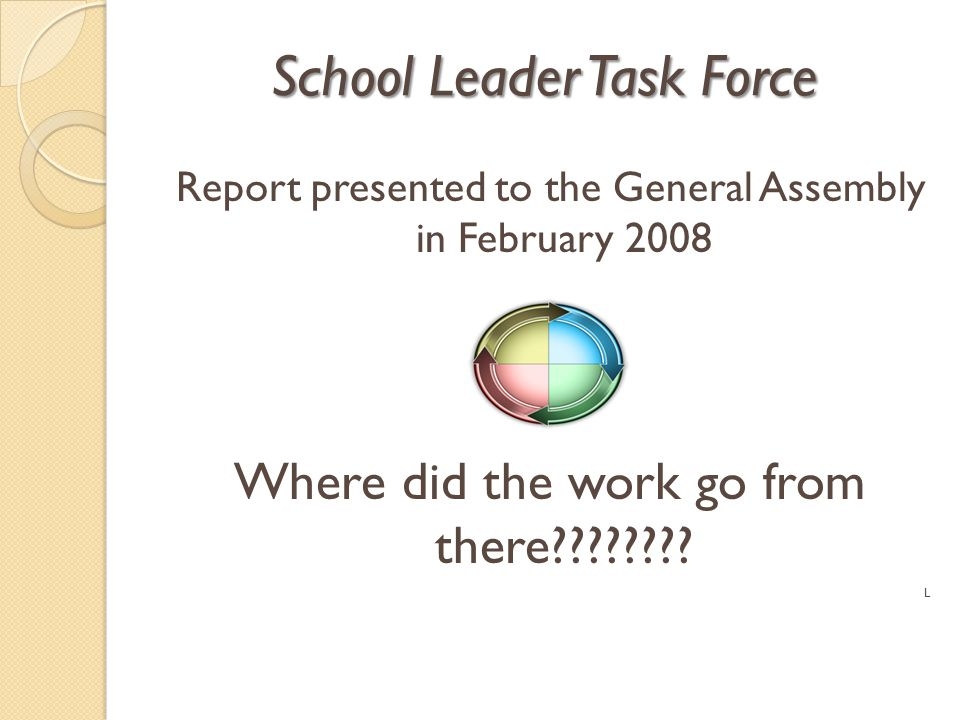 School Leader Task Force Report presented to the General Assembly in February 2008 Where did the work go from there???????? L