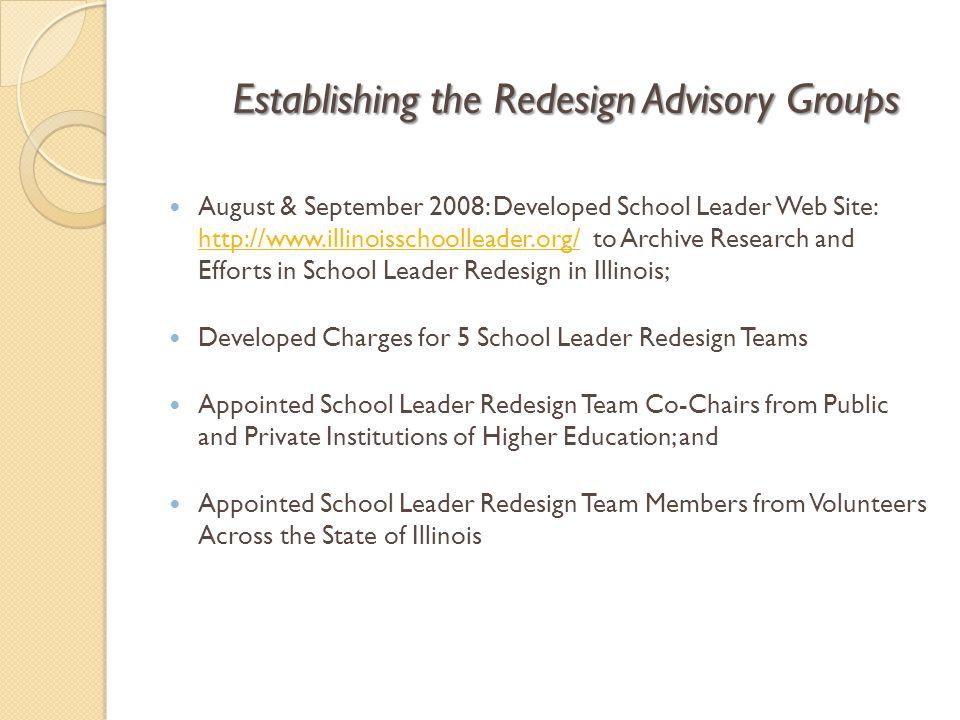 Establishing the Redesign Advisory Groups August & September 2008: Developed School Leader Web Site: http://www.illinoisschoolleader.org/ to Archive R