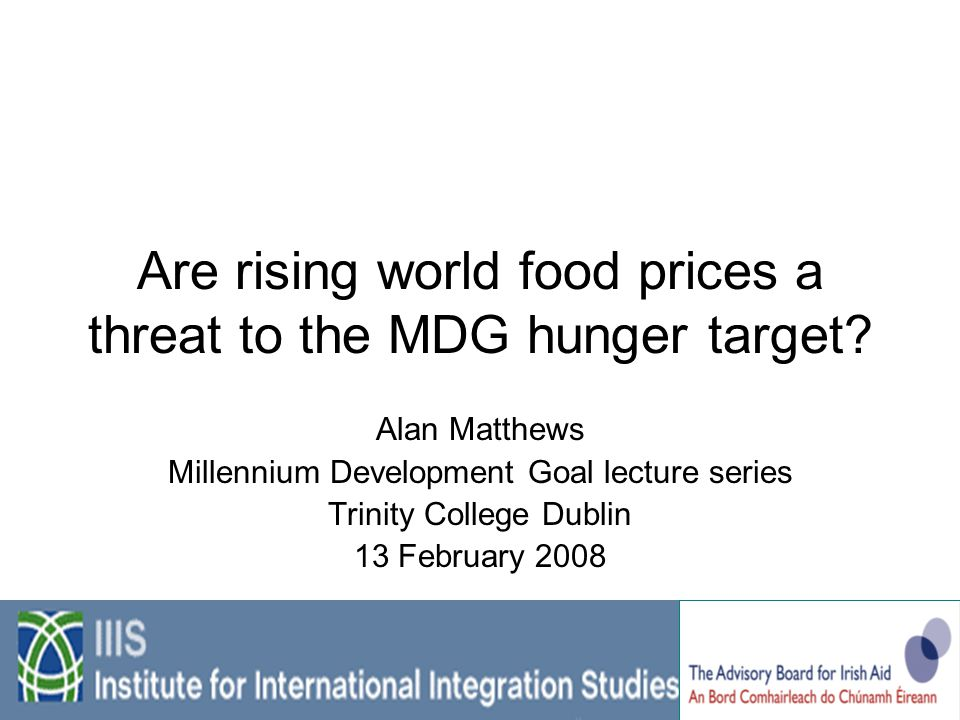 Are rising world food prices a threat to the MDG hunger target.