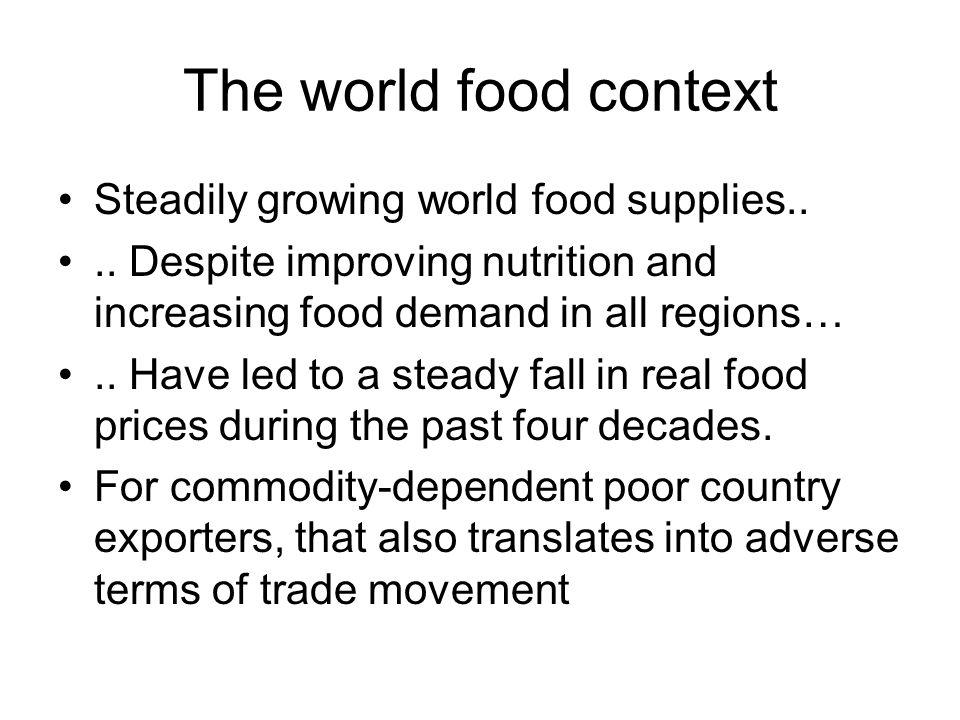 Evolution of calorie supply Source: Ugarte 2007