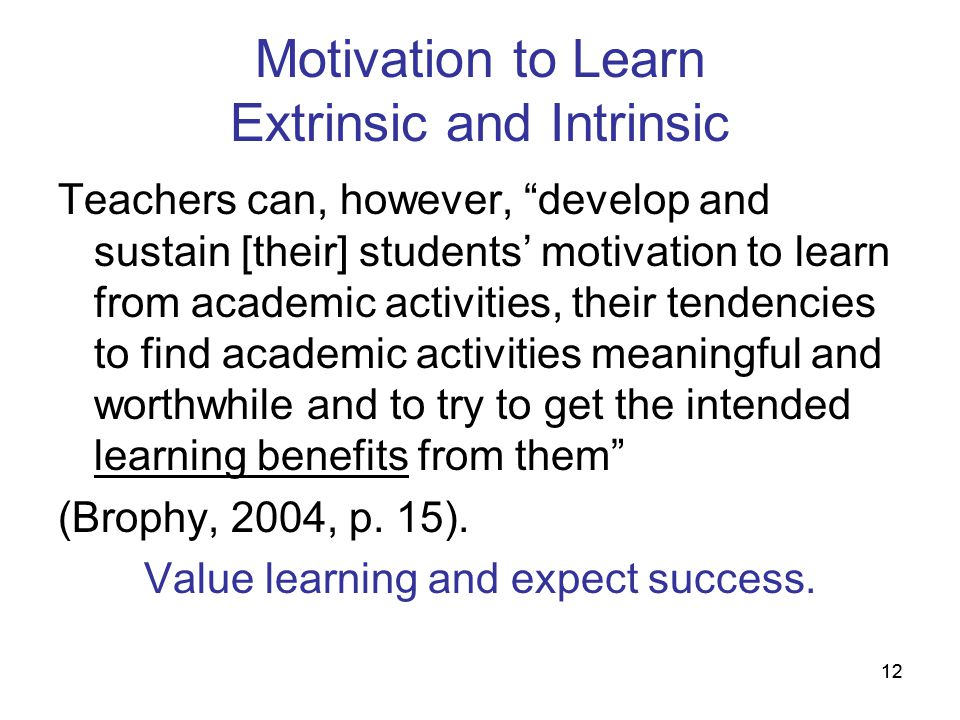 12 Motivation to Learn Extrinsic and Intrinsic Teachers can, however, develop and sustain [their] students motivation to learn from academic activitie