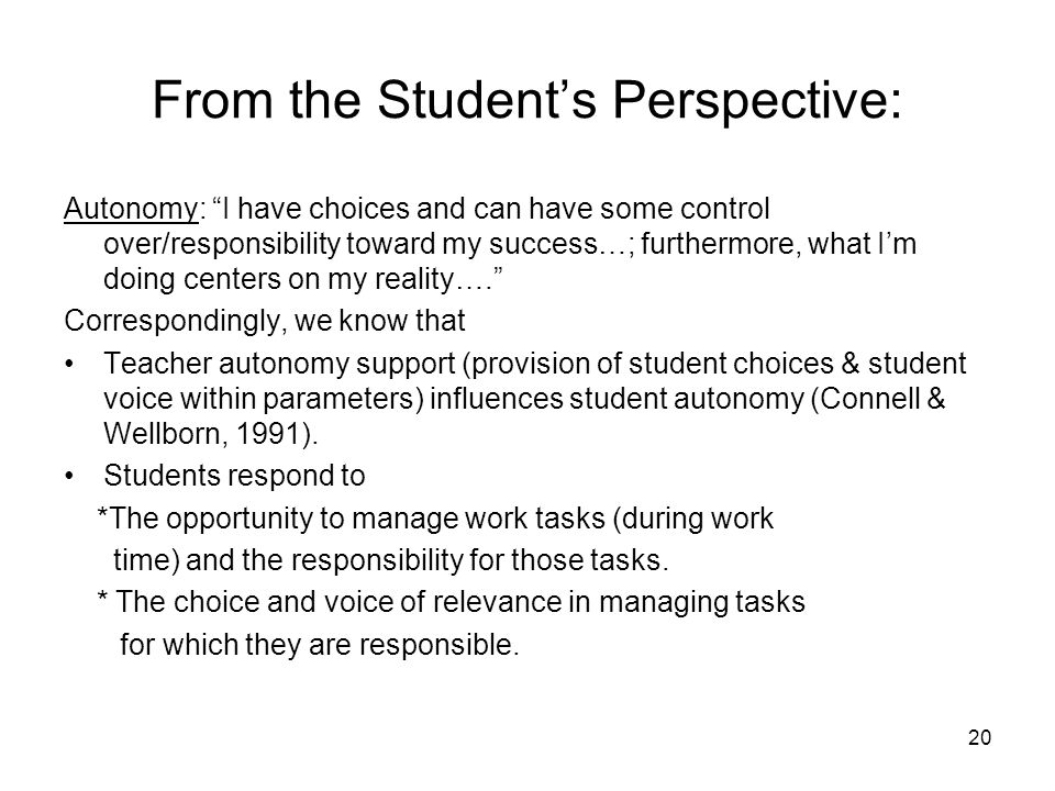 20 From the Students Perspective: Autonomy: I have choices and can have some control over/responsibility toward my success…; furthermore, what Im doin