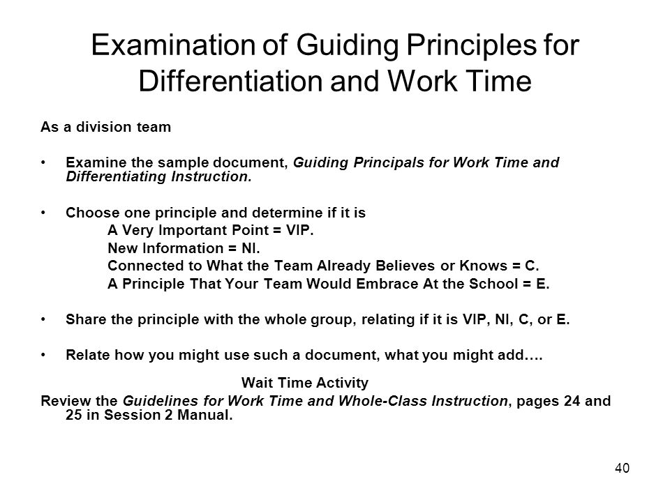 40 Examination of Guiding Principles for Differentiation and Work Time As a division team Examine the sample document, Guiding Principals for Work Tim