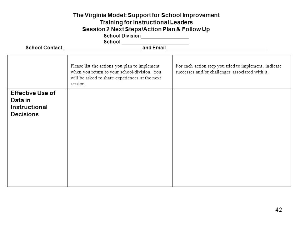 42 The Virginia Model: Support for School Improvement Training for Instructional Leaders Session 2 Next Steps/Action Plan & Follow Up School Division_
