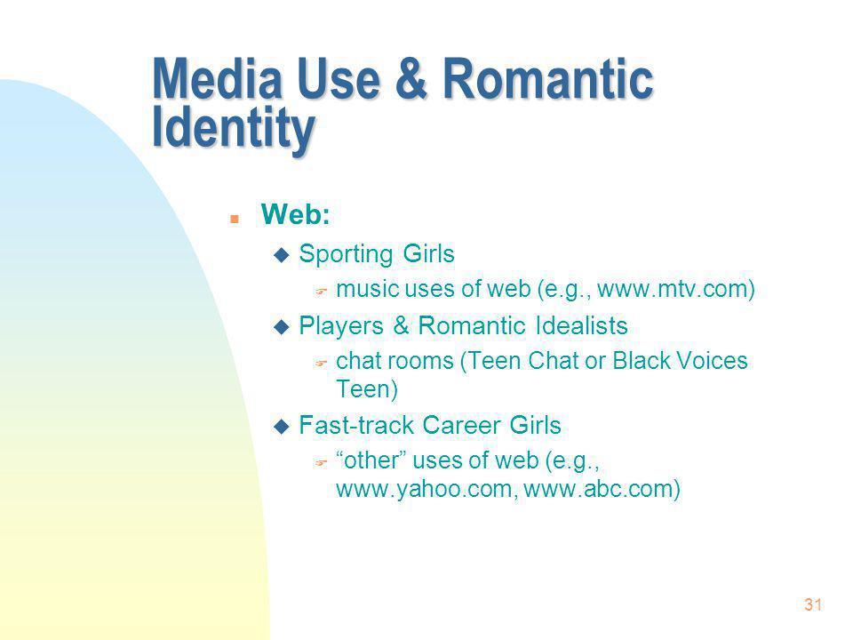 31 Media Use & Romantic Identity n Web: u Sporting Girls F music uses of web (e.g., www.mtv.com) u Players & Romantic Idealists F chat rooms (Teen Cha