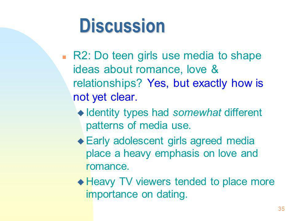 35 Discussion n R2: Do teen girls use media to shape ideas about romance, love & relationships? Yes, but exactly how is not yet clear. u Identity type