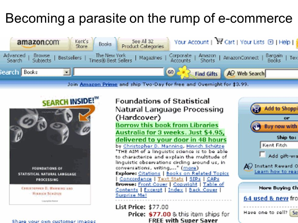 Becoming a parasite on the rump of e-commerce