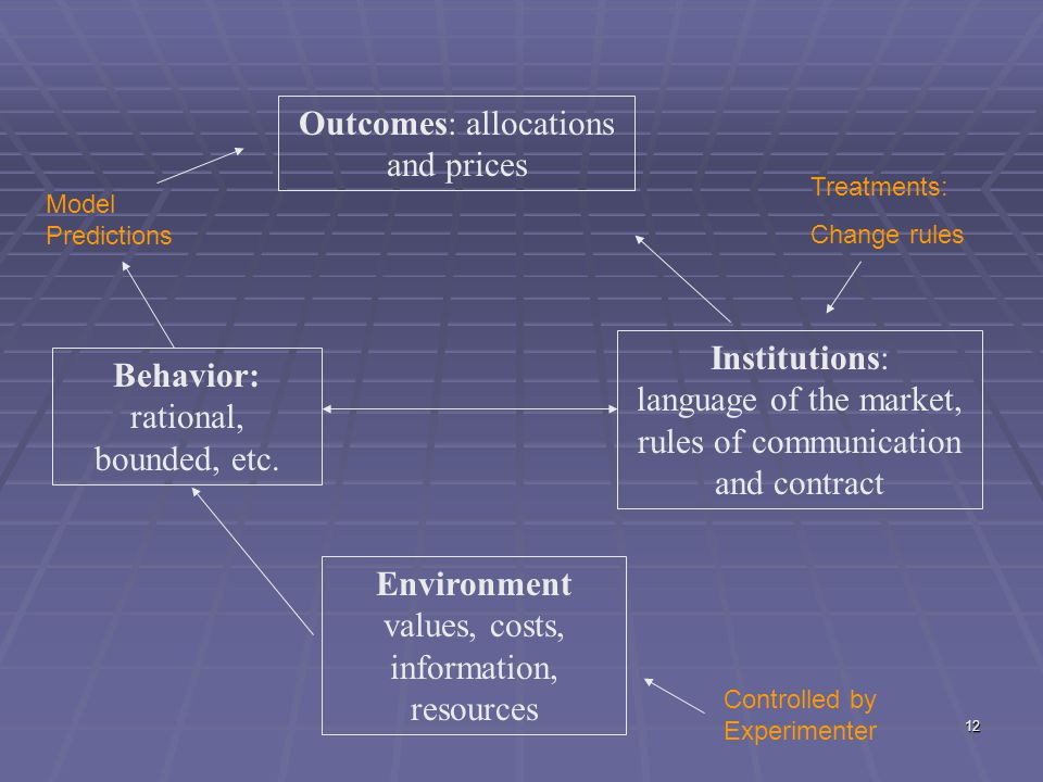 12 Outcomes: allocations and prices Institutions: language of the market, rules of communication and contract Behavior: rational, bounded, etc. Enviro