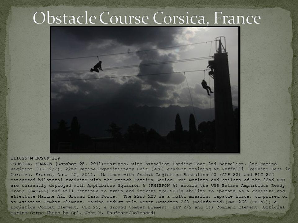 111025-M-BC209-119 CORSICA, FRANCE (October 25, 2011)–Marines, with Battalion Landing Team 2nd Battalion, 2nd Marine Regiment (BLT 2/2), 22nd Marine E
