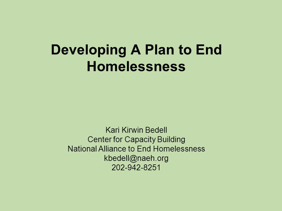 Developing A Plan to End Homelessness Kari Kirwin Bedell Center for Capacity Building National Alliance to End Homelessness kbedell@naeh.org 202-942-8251