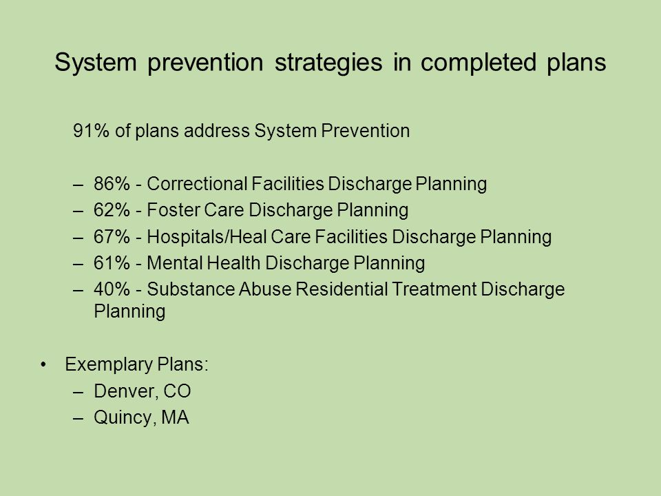 System prevention strategies in completed plans 91% of plans address System Prevention –86% - Correctional Facilities Discharge Planning –62% - Foster Care Discharge Planning –67% - Hospitals/Heal Care Facilities Discharge Planning –61% - Mental Health Discharge Planning –40% - Substance Abuse Residential Treatment Discharge Planning Exemplary Plans: –Denver, CO –Quincy, MA