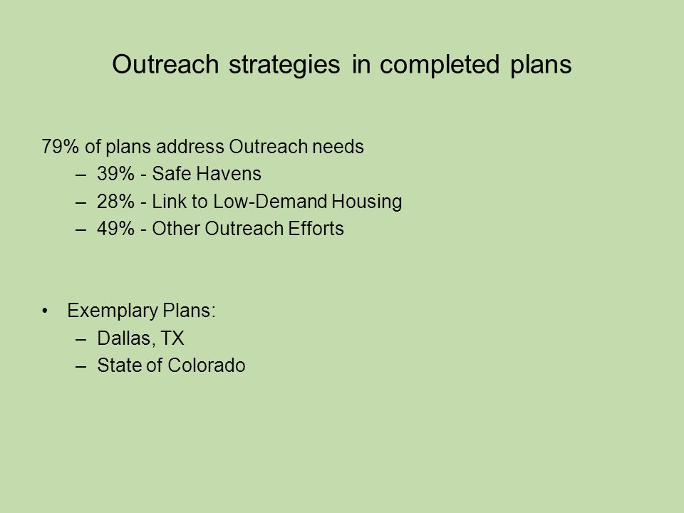Outreach strategies in completed plans 79% of plans address Outreach needs –39% - Safe Havens –28% - Link to Low-Demand Housing –49% - Other Outreach Efforts Exemplary Plans: –Dallas, TX –State of Colorado