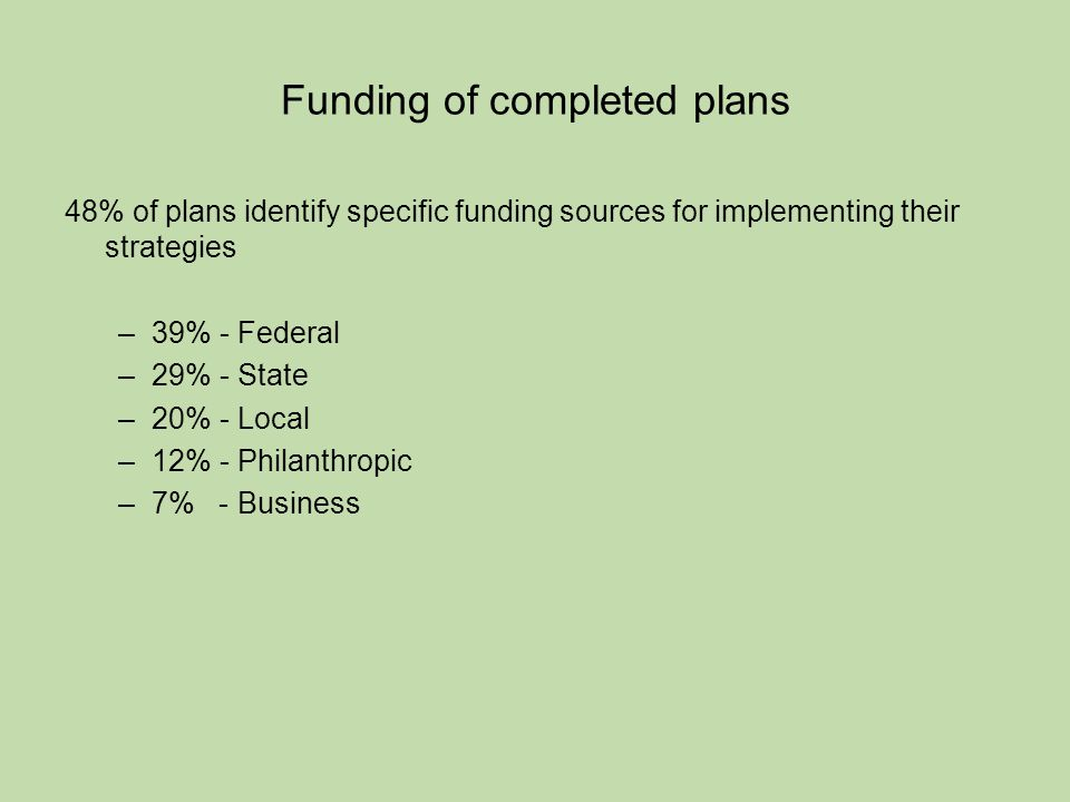 Funding of completed plans 48% of plans identify specific funding sources for implementing their strategies –39% - Federal –29% - State –20% - Local –12% - Philanthropic –7% - Business