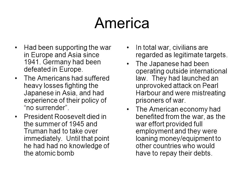 America Had been supporting the war in Europe and Asia since 1941.