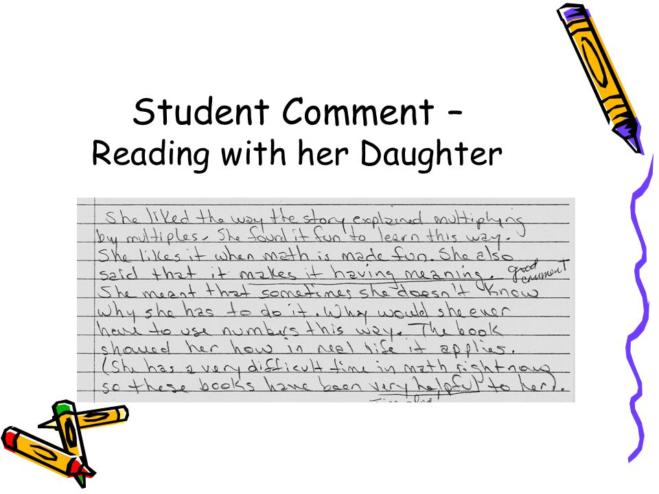 Student Comment – Reading with her Daughter