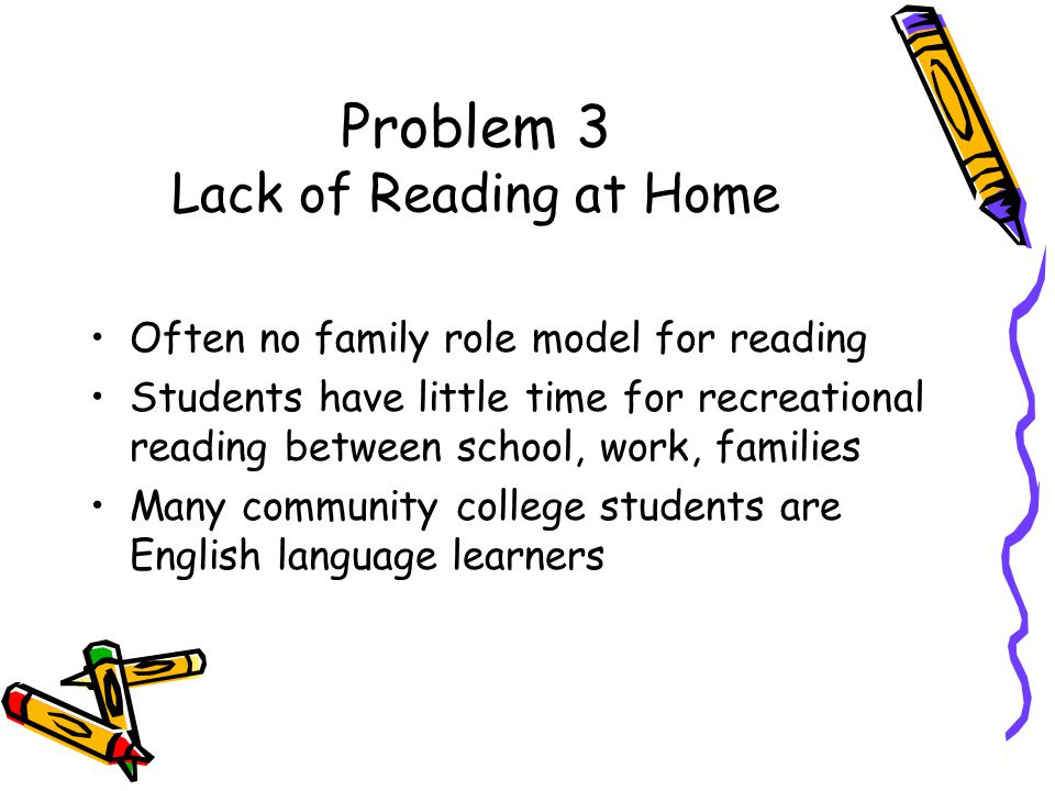 Problem 3 Lack of Reading at Home Often no family role model for reading Students have little time for recreational reading between school, work, families Many community college students are English language learners