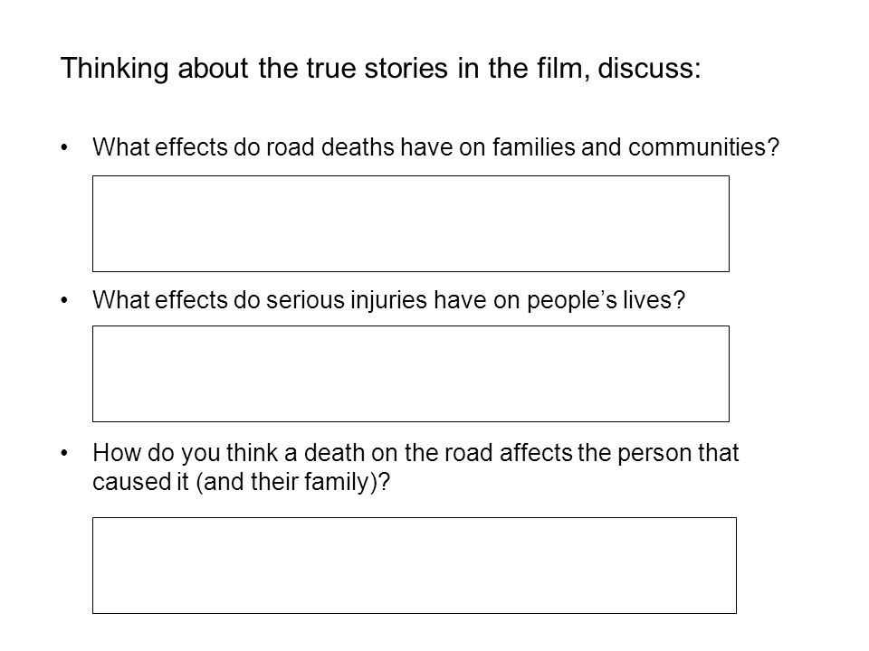 Thinking about the true stories in the film, discuss: What effects do road deaths have on families and communities? What effects do serious injuries h
