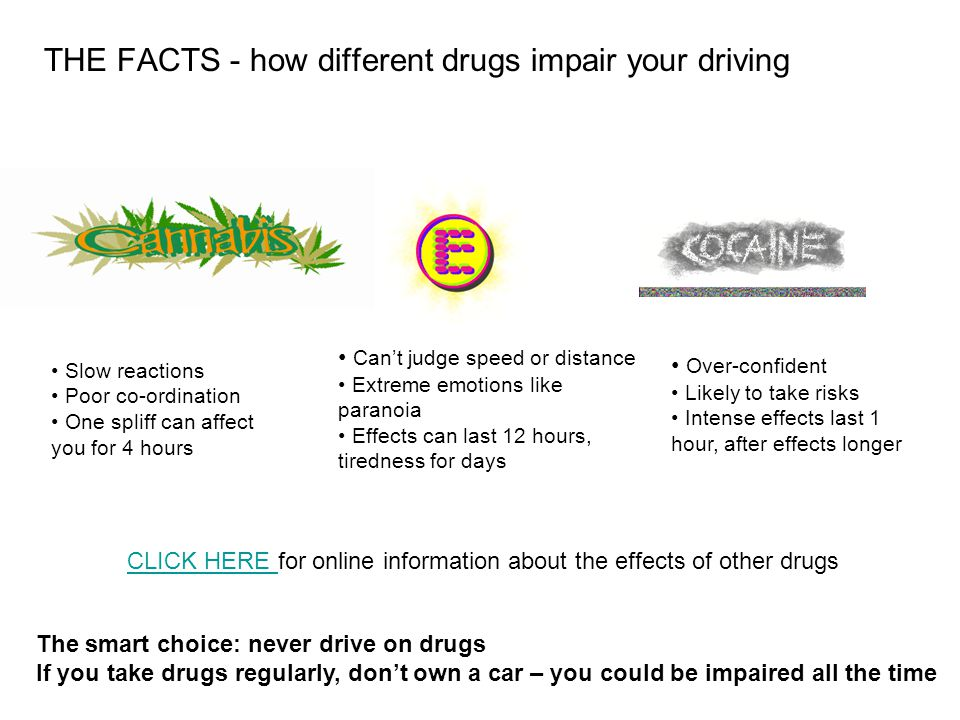 THE FACTS - how different drugs impair your driving The smart choice: never drive on drugs If you take drugs regularly, dont own a car – you could be