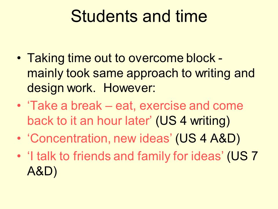 Students and time Taking time out to overcome block - mainly took same approach to writing and design work. However: Take a break – eat, exercise and