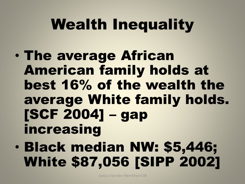 Jessica Gordon Nembhard 084 Wealth Inequality The average African American family holds at best 16% of the wealth the average White family holds.