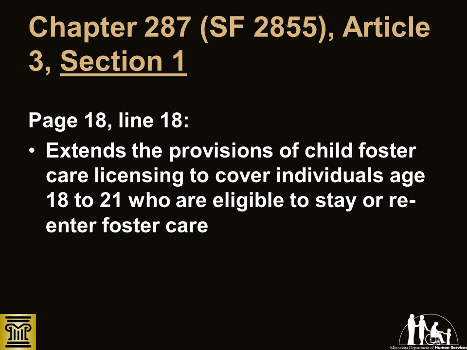 Chapter 287 (SF 2855), Article 3, Section 1 Page 18, line 18: Extends the provisions of child foster care licensing to cover individuals age 18 to 21