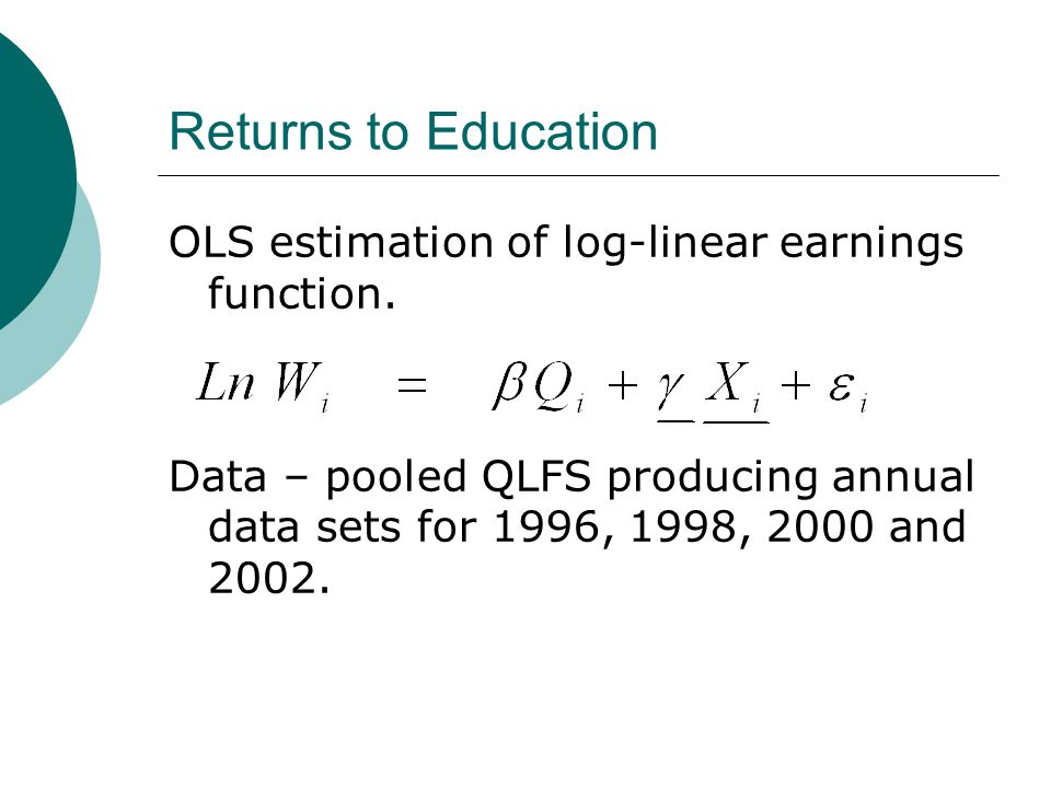 Returns to Education OLS estimation of log-linear earnings function.