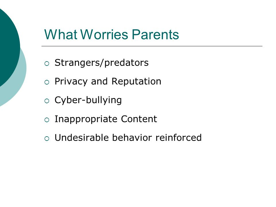 What Worries Parents Strangers/predators Privacy and Reputation Cyber-bullying Inappropriate Content Undesirable behavior reinforced