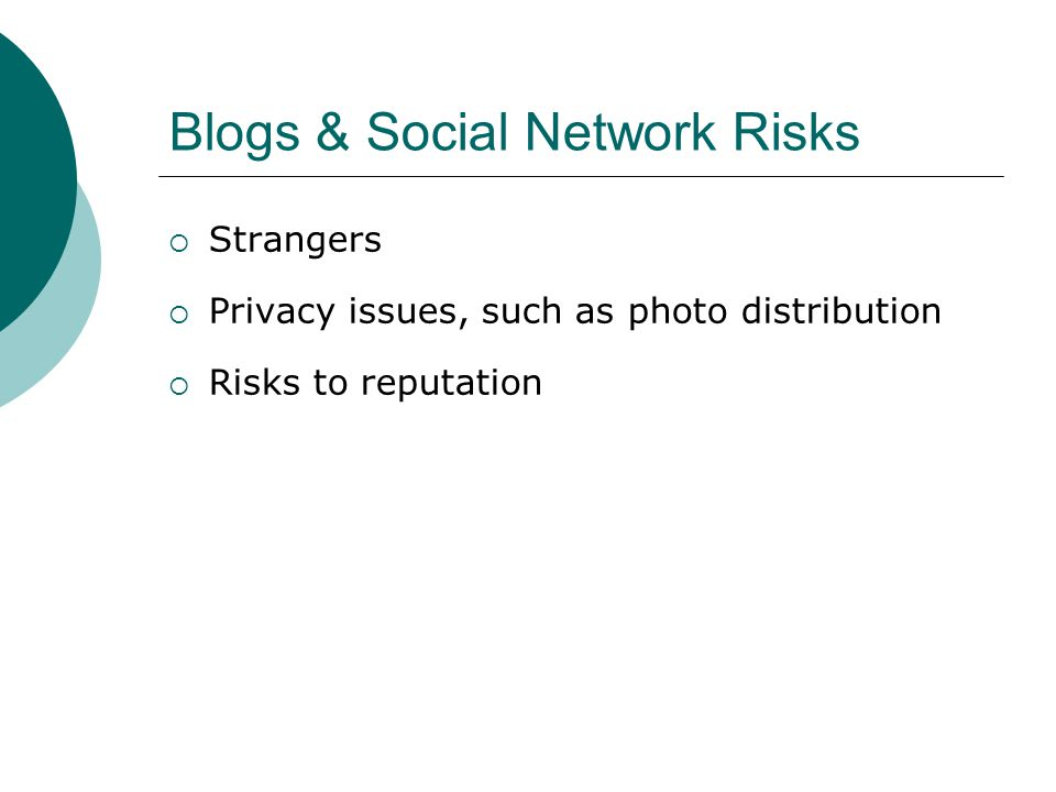 Blogs & Social Network Risks Strangers Privacy issues, such as photo distribution Risks to reputation