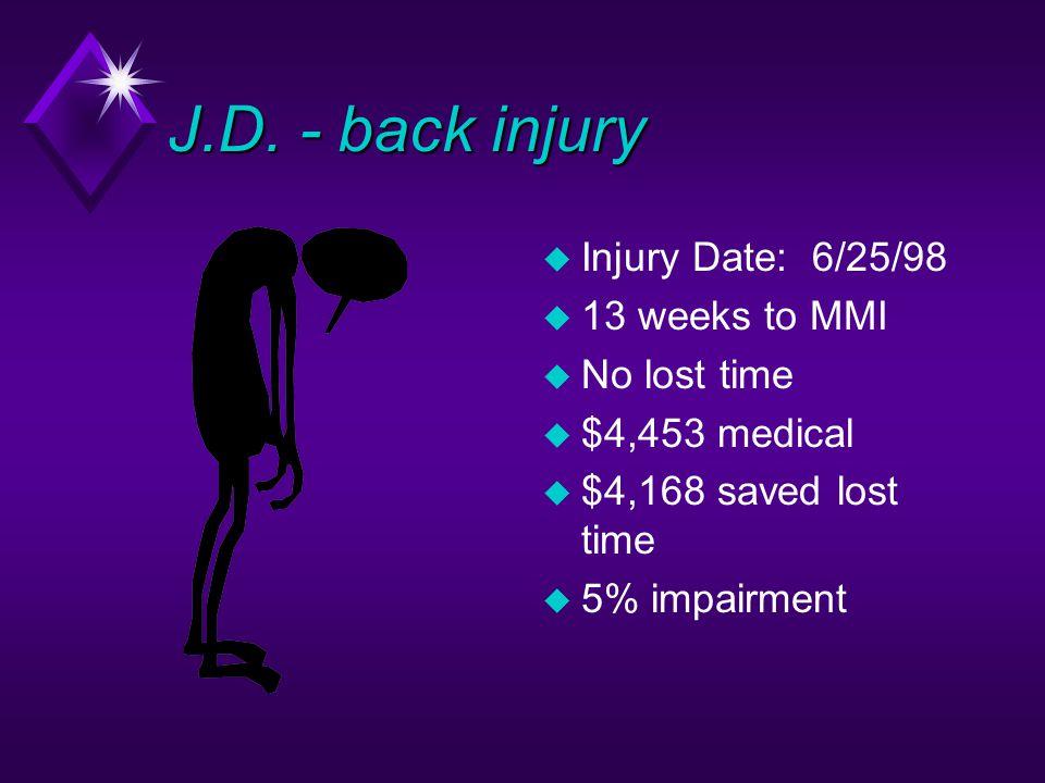 J.D. - back injury u Injury Date: 6/25/98 u 13 weeks to MMI u No lost time u $4,453 medical u $4,168 saved lost time u 5% impairment