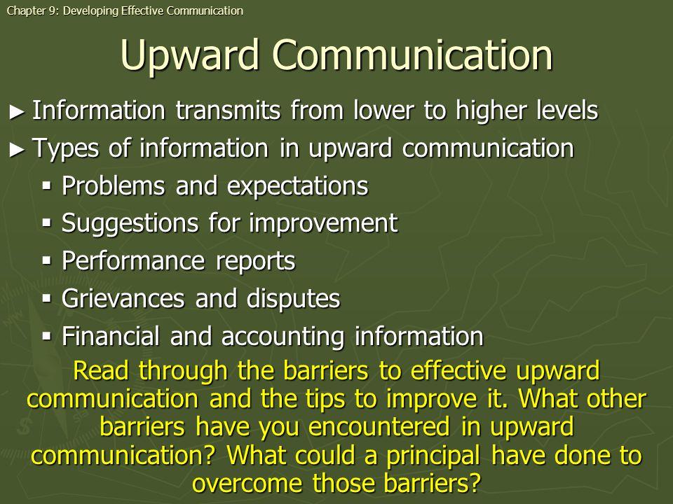 Upward Communication Information transmits from lower to higher levels Information transmits from lower to higher levels Types of information in upwar