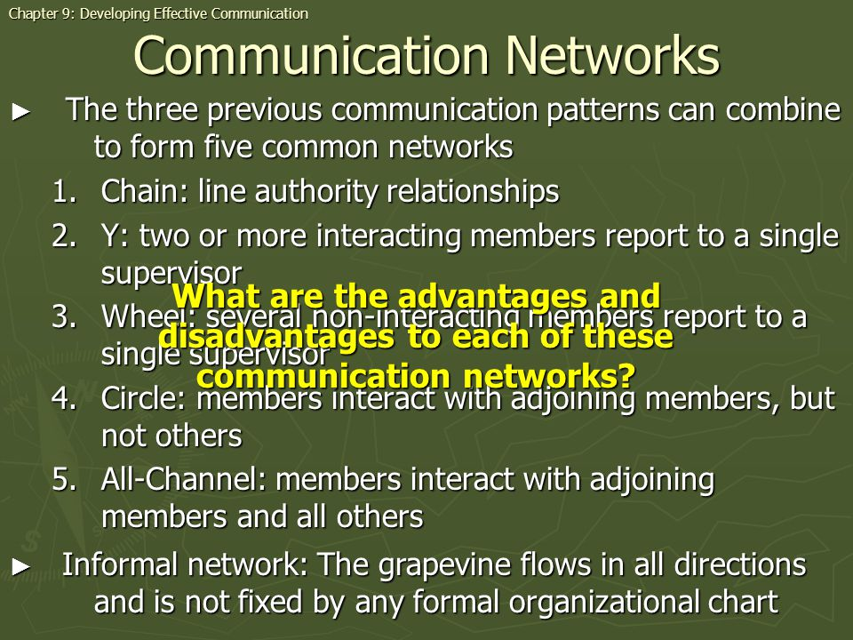 Communication Networks The three previous communication patterns can combine to form five common networks The three previous communication patterns ca