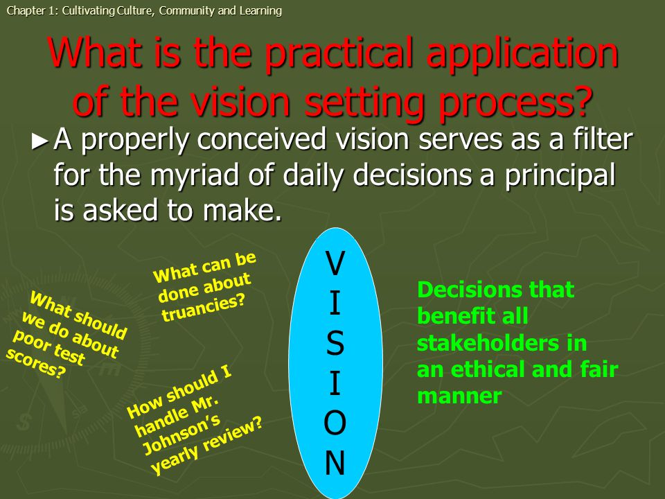 What is the practical application of the vision setting process.