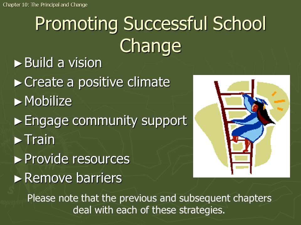 Promoting Successful School Change Build a vision Build a vision Create a positive climate Create a positive climate Mobilize Mobilize Engage community support Engage community support Train Train Provide resources Provide resources Remove barriers Remove barriers Chapter 10: The Principal and Change Please note that the previous and subsequent chapters deal with each of these strategies.