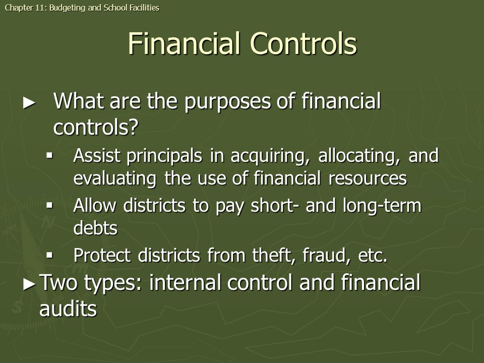 Financial Controls What are the purposes of financial controls? What are the purposes of financial controls? Assist principals in acquiring, allocatin