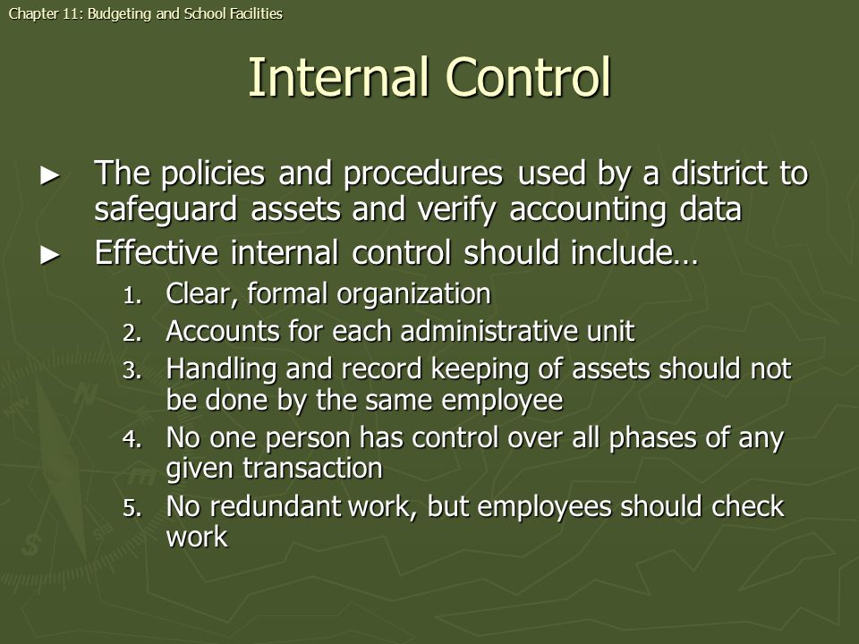 Internal Control The policies and procedures used by a district to safeguard assets and verify accounting data The policies and procedures used by a d