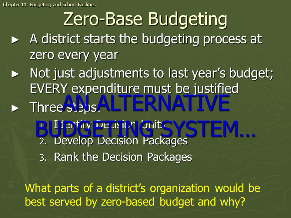Zero-Base Budgeting A district starts the budgeting process at zero every year A district starts the budgeting process at zero every year Not just adj