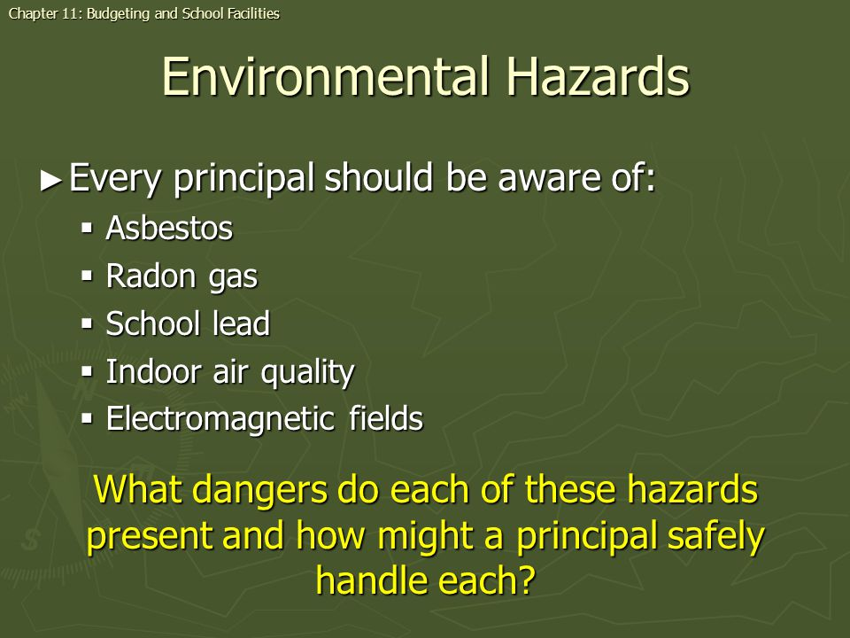 Environmental Hazards Every principal should be aware of: Every principal should be aware of: Asbestos Asbestos Radon gas Radon gas School lead School