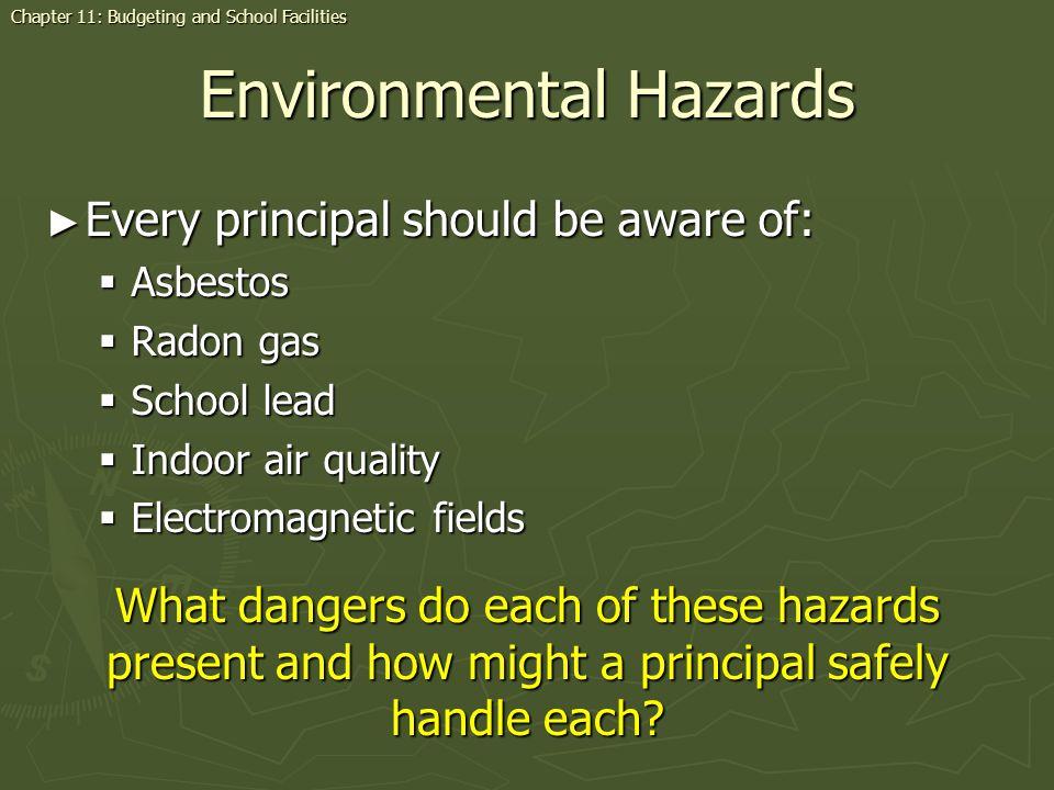 Environmental Hazards Every principal should be aware of: Every principal should be aware of: Asbestos Asbestos Radon gas Radon gas School lead School