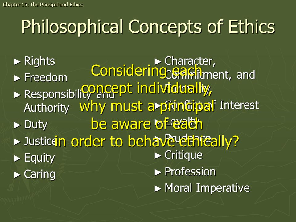 Philosophical Concepts of Ethics Rights Rights Freedom Freedom Responsibility and Authority Responsibility and Authority Duty Duty Justice Justice Equity Equity Caring Caring Character, Commitment, and Formality Conflict of Interest Loyalty Prudence Critique Profession Moral Imperative Chapter 15: The Principal and Ethics Considering each concept individually, why must a principal be aware of each in order to behave ethically?